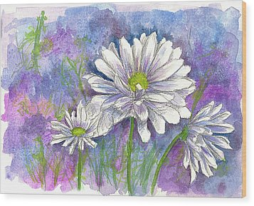 Wood Print featuring the painting Daisy Three by Cathie Richardson