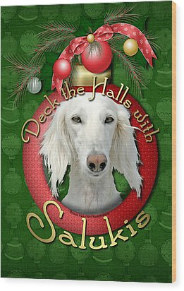 Deck The Halls With Salukis Wood Print by Renae Laughner