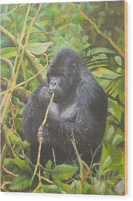 Wood Print featuring the painting Deep In Virunga Jungle by Noe Peralez