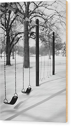 Deep Snow & Empty Swings After The Blizzard Wood Print by Trina Dopp Photography