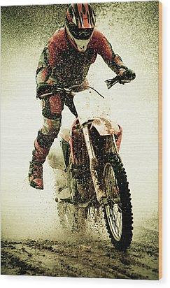 Dirt Bike Rider Wood Print by Thorpeland Photography