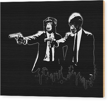 Divine Monkey Intervention - Pulp Fiction Wood Print by Nicklas Gustafsson