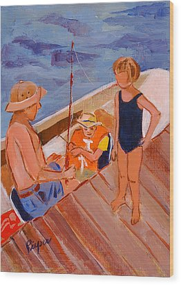 Dockside Negotiation On Who Is Fishing Wood Print by Elzbieta Zemaitis