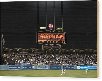 Dodgers Win Wood Print by Malania Hammer