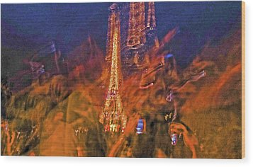 Eiffel On Bastille Day Abstract Wood Print by Tony Grider