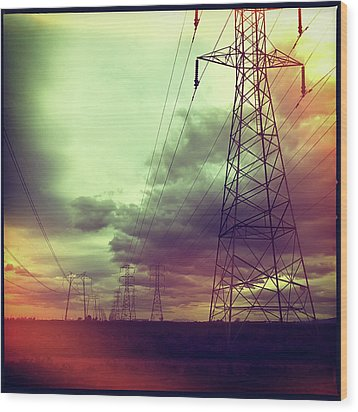 Electricity Pylons Wood Print by Mardis Coers