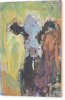 Expressive Cow Artwork Wood Print