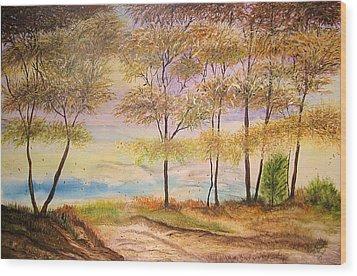 Falling Leaves Wood Print by Maris Sherwood