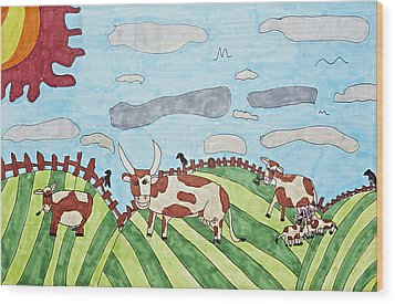 Family On Green Pastures Wood Print by Stephanie Ward