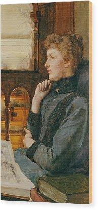 Far Away Thoughts Wood Print by Sir Lawrence Alma-Tadema