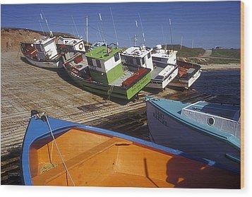 Fishing Boats - Magdalen Islands Wood Print by Carol Barrington