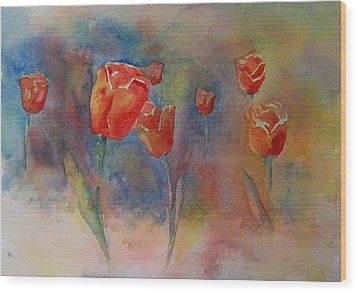 Floating Tulips Wood Print by Becky Chappell