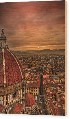 Florence Duomo At Sunset Wood Print by McDonald P. Mirabile
