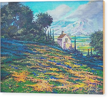 Flower Hill Wood Print by Sinisa Saratlic