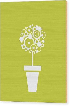 Flower Vase On Kiwi Wood Print by Flavio Coelho