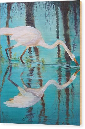 Wood Print featuring the painting Fowl Fishing by AnnE Dentler