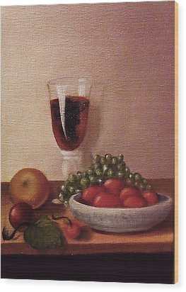 Fruit  And  Wine   A Wood Print by Helen Thomas