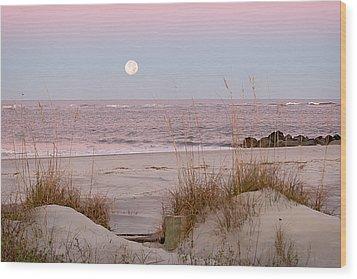 Full Moon Over Folly Beach Wood Print by Vanessa Kauffmann