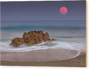 Full Moon Over Ocean And Rocks Wood Print by Melinda Moore