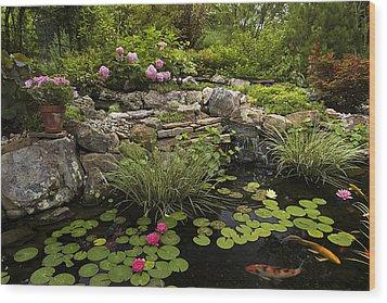 Garden Pond - D001133 Wood Print by Daniel Dempster