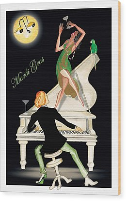 Girl Dancing On Piano Wood Print