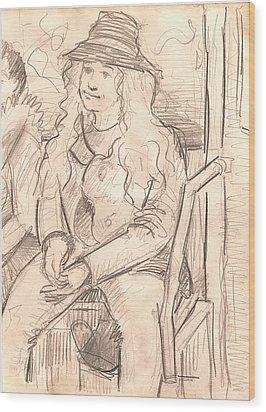 Girl On A Train Wood Print by Al Goldfarb