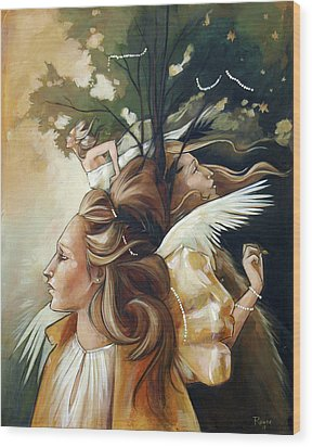 Gold Leaf Mysticism Wood Print