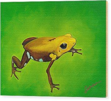 Golden Frog Of Supata Wood Print by Sabina Espinet