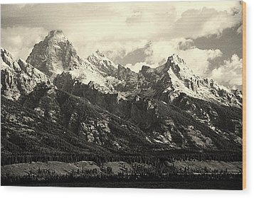 Grand Teton Range In Vintage Light Wood Print by The Forests Edge Photography - Diane Sandoval