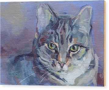 Green Eyed Tabby - Thomasina Wood Print by Kimberly Santini