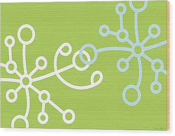 Green Net Wood Print by Nomi Elboim