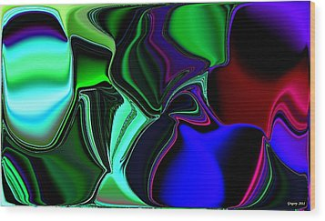 Green Nite Distortions 4 Wood Print by Greg Moores