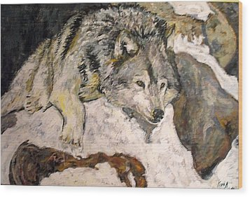 Wood Print featuring the painting Grey Wolf Resting In The Snow by Koro Arandia