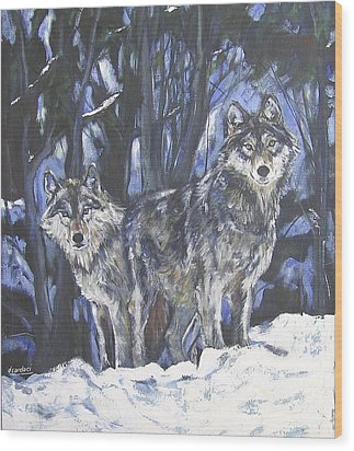 Wood Print featuring the painting Grey Wolves by Debora Cardaci