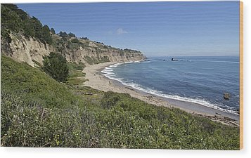 Greyhound Rock Beach Panorama - Santa Cruz - California Wood Print by Brendan Reals
