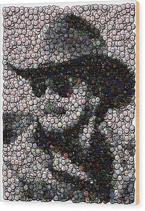 Hank Williams Jr. Bottle Cap Mosaic Wood Print by Paul Van Scott