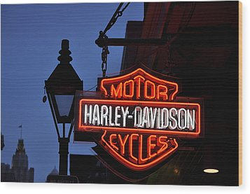 Harley Davidson New Orleans Wood Print by Bill Cannon
