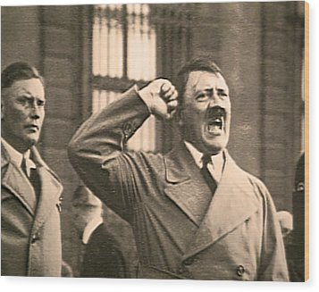 Hitler The Orator Wood Print