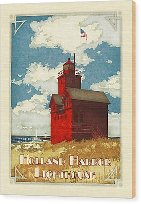 Holland Harbor Lighthouse Wood Print by Antoinette Houtman