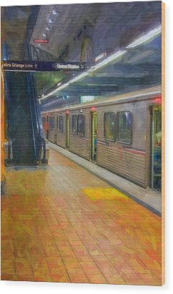 Wood Print featuring the photograph Hollywood Subway Station by David Zanzinger