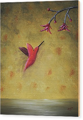 Wood Print featuring the painting Hummingbird by Edwin Alverio