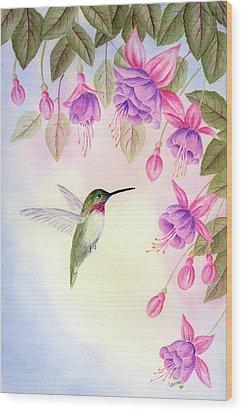 Hummingbird With Fuchsia Wood Print by Leona Jones