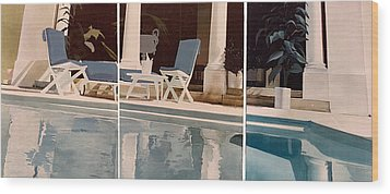 Ibiza Pool Wood Print by Geoff Greene