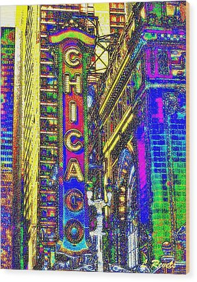 Iconic Chicago Wood Print by Leslie Revels Andrews