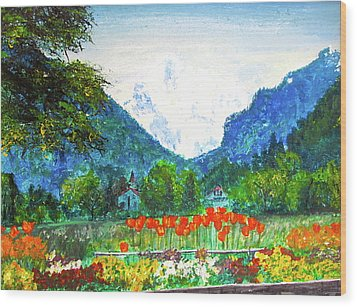 Interlaken Wood Print by Beth Saffer
