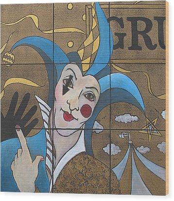Jester In Blue Wood Print by Susanne Clark