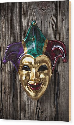 Jester Mask Hanging On Wooden Wall Wood Print by Garry Gay