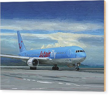 Wood Print featuring the painting Jetairfly Boeing 767 In Costa Rica by Nop Briex