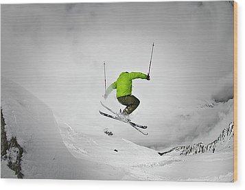 Jumping Of Rock Wood Print by Camilla Hylleberg Photography