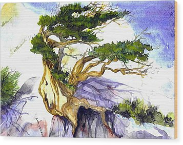Juniper Blow Wood Print by Pat Crowther